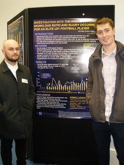 MRes Sport & Exercise students Tom Male and Connor Langley presenting their research at the BASES Biomechanics Interest Group Meeting.